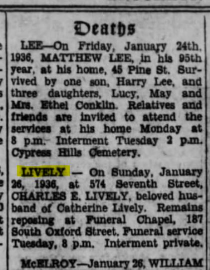 Bklyn Eagle 19260127 Lively death
